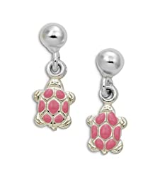 Sterling Silver Pink Enamel Turtle Stud Post Earrings