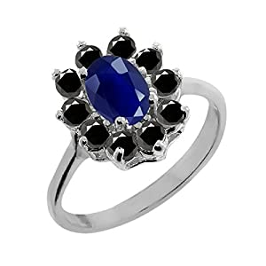 1.35 Ct Oval Blue Sapphire Black Diamond 925 Sterling Silver Ring