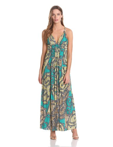 Tbags Los Angeles Women's Bar Back Printed Maxi Dress, Teal Paisley, Large
