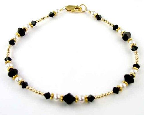 Black 14kt Gold Filled Swarovski Crystal Anklets Ankle Bracelets - LARGE 10.5 In.