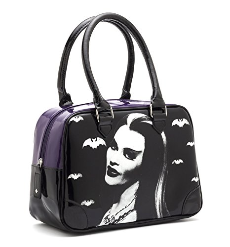 Rock Rebel Lily Munster with Bats Black and Purple Bowling Handbag Purse