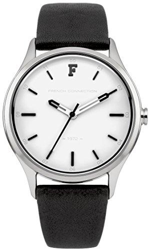 French Connection FC1246W - Reloj para mujeres, correa de cuero color negro