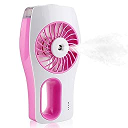 Elikeable FN Handheld USB Mini Misting Fan Built-in Rechargeable Misting Fan with Personal Cooling Humidifier for Home Office and Travel (Pink)
