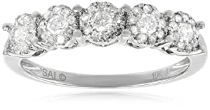10k White Gold 1/2 cttw Diamond Anniversary Ring, Size 7