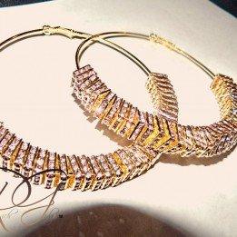 Draya Michele Pink Crystal Squares Hoop Earrings