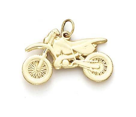 14k Motocross Bike Pendant - JewelryWeb