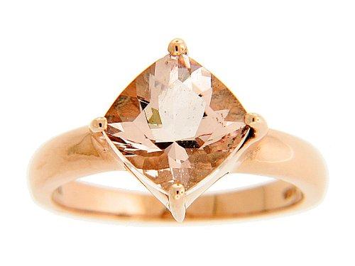 Khr: 2.0Ct. Morganite Rose Gold Polished Sterling Silver Ring