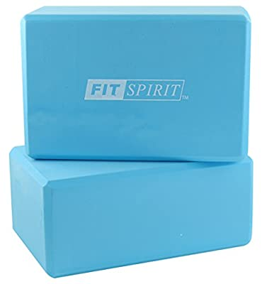 "Fit Spirit¨ Set of 2 Exercise Yoga Blocks - 9"" x 6"" x 3"" - Choose Your Color"