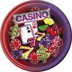 "Neon Casino 7"" Dessert Plates (8 Ct) - 1"