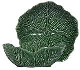 Portuguese Majolica Green Ceramic Cabbage Leaf Sm Bowl, 7