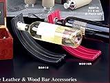 Bey Berk Black Leather Balancing Wine Bottle Stand Holder