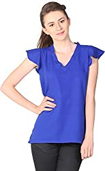 Unimod Women's Polyester Regular Fit Top (U035_Blue_S, Blue, S)