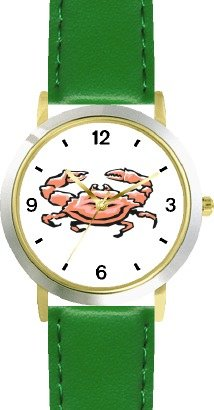 Crab Animal - WATCHBUDDY® DELUXE TWO-TONE THEME WATCH - Arabic Numbers - Green Leather Strap-Size-Children's Size-Small ( Boy's Size & Girl's Size )