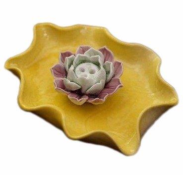 Quemadordeinciensorecipientesoporte Amarillo Púrpura dos