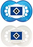 "MAM 66180810 - Original, Bundesliga, Football ""Hamburger Sportverein"" 6-16 Monate, Silikon, Doppelpack"
