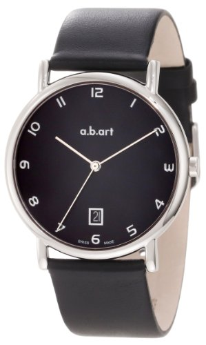 A.B. Art Men'S Kld108 Series Kld Stainless Steel Swiss Quartz Date, Black Dial And Leather Strap Watch