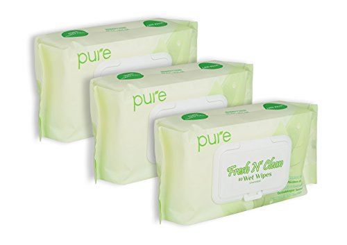 Fresh N Clean Pure Face, Hand and Baby Wet Wipes, Unscented and Alcohol Free, 20x16 cm, 80-Count (Pack of 3) (Flushable Adult Wet Wipes compare prices)
