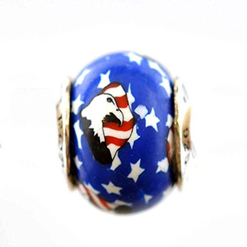 American Flag with Eagle Stars and Stripes Support the Troops Awareness Bead Charm for Add-A-Bead Bracelets Clay & Sterling Silver by MAYselect SIZE Large