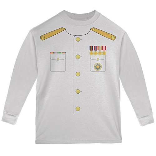 Halloween Navy Admiral Costume White Youth Long Sleeve T-Shirt