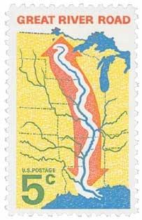 #1319 - 1966 5c Great River Road U. S. Postage Stamp Plate Block (4)