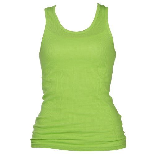 Neon Lime Color Classic Super Soft 100% Cotton Longer Womens And Girls Tank Shirt, Medium