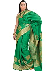 Exotic India Kelly-Green Banarasi Saree With Woven Flowers And Peacock O - Green