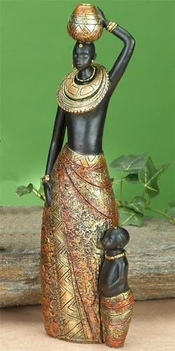 African Tribal Mother Carrying Pot with Child Statue Figure Figurine