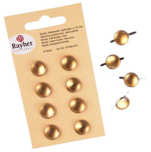 Rayher - 79568616 - tachuelas, la mitad de la perla, esmerilado, de diámetro 12 mm, SB-tarjeta 8 pcs, de oro