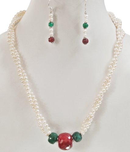 Natural Faceted Ruby, Emerald & Pearl Beaded Designer Handcrafted Necklace with Free Earrings