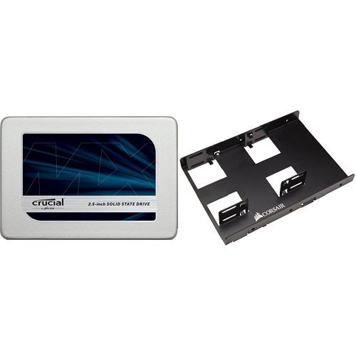 Crucial MX300 1TB SATA 2.5 Inch Internal Solid State Drive - CT1050MX300SSD1 & Corsair Dual SSD Mounting Bracket 3.5