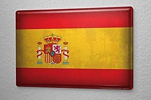Viaje Por El Mundo Cartel de chapa Placa metal tin sign bandera de España Letrero Decorativo 20X30 cm