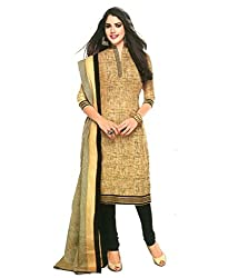 Fashionx Beige cotton printed unstitched dress material