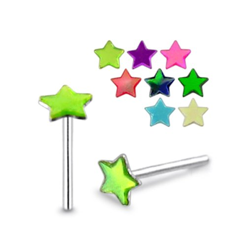Piercingworld 5 Pcs Mix Color Star Shaped Synthetic Shell 22Gx5/16 (0.6x8mm) 925 Sterling Silver Straight Nose Pin Piercing Jewelry