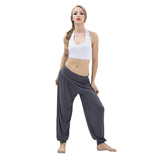 H?TER Womens Soft Carolina Cotton Elastic Waistband Fitness Yoga Herem Pants - Dark Grey