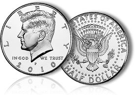 2010 P & D Mint John F Kennedy Half Dollar Two Uncirculated Coin Set