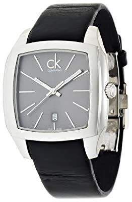 Calvin Klein Men's 'Recess' Swiss Quartz Stainless Steel and Leather Automatic Watch, Color:Black (Model: K2K21107)