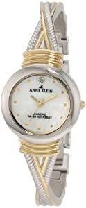 "Anne Klein Women's 109069MPTT Diamond Accented Round Two-Tone  ""X"" Shaped Bangle Watch"