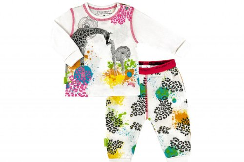 Kushies Organic Baby Girls' It'S My Planet 2 Emerald Jungle Long Sleeve 2 Piece Set 9 Months Multicolored