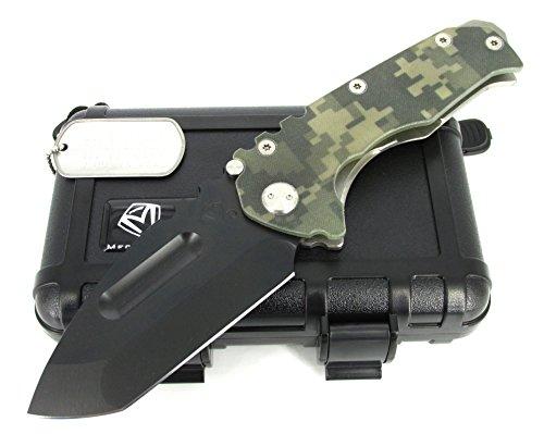 Medford Knife and Tool Praetorian G/T Tactical Folder Knife Tanto Point Digicam G-10/Tumbled Ti Handles PVD Finish MK11DPT-07TM