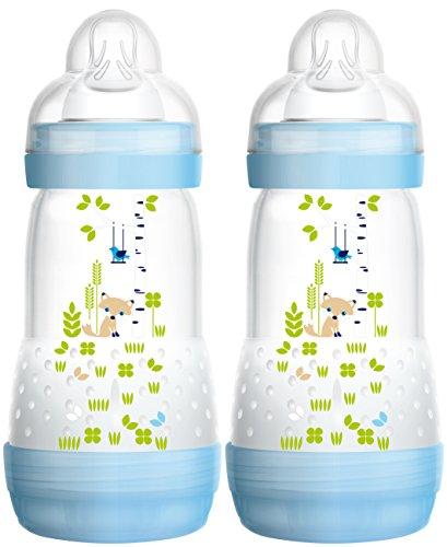 MAM 99921511 - Biberon anticolica da 260 ml, Confezione doppia, Bambino, Blu
