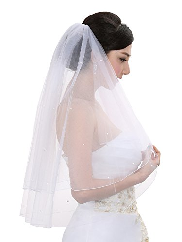 2T 2 Tier Pencil Edge Circular Rhinestone Veil - Ivory Elbow Length 30