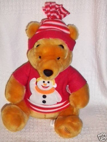 "Retired Large 12"" Plush Winnie the Pooh Winter Holiday Snowman Sweater Plush Pooh Bear Doll - 1"