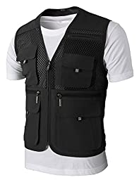 H2H Mens Casual Work Utility Hunting Travels Sports Mesh Vest With Pockets BLACK US XXL/Asia 3XL (KMOV090)