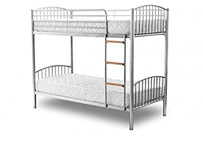 DuraTribe Twin Sleeper Metal Bunk Bed Single Size 3FT in Silver Colour - Splits into 2 Single Beds - EN747 Certified
