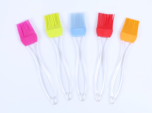 Silicone Grill Basting Pastry & Bbq Brushes (Set Of 5, Colorful) -- Durable, Attractive, Heat Resistant Kitchen Utensils - Dishwasher Safe- Soft And Flexible- Essential Cooking Gadget, Bakeware Tool And Culinary Equipment