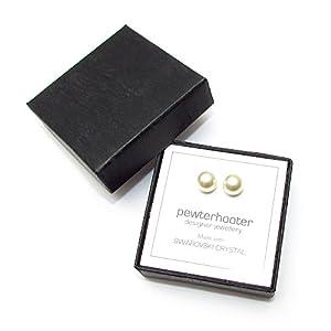 Damen-Ohrring CREME PERLEN SWAROVSKI KRISTALLE 925 Silber Ohrstecker. Schmuck-Geschenk-Box. Hohe Qualität. Niedrige Preise.