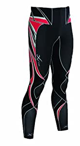 CW-X Conditioning Wear Men's Revolution Running Tights, Black/Red, Large