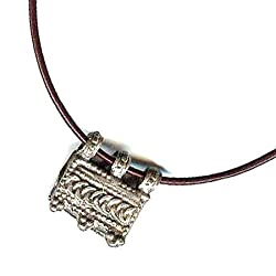 Ethiopian Silver Telsum Necklace - Brown Leather Cord