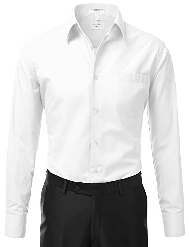 IDARBI Men's Classic French Convertible Cuff Button Up Regular-Fit Dress Shirt WHITE XL:17/17.5N32/33S