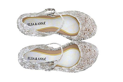 UK1stChoice-Zone ELSA & ANNA® Buona Qualità Ultimo Design Ragazze Principessa Regina delle Nevi Gelatina Partito Scarpe sandali (Bianco, EUR-32 (Lunghezza Soletta: 19.5cm))